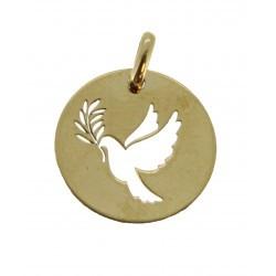 Médaille ronde découpe colombe rameau simple