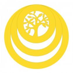 Médaille 3 anneaux arbre de vie ronde