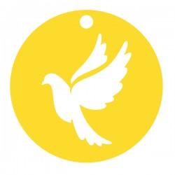 Médaille ronde découpée colombe diamètre 16mm