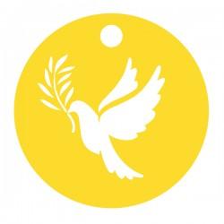 Médaille ronde découpe colombe rameau diamètre 16mm
