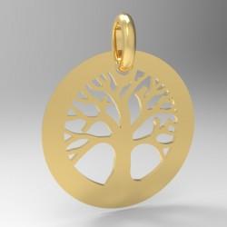 Médaille arbre de vie ronde creuse