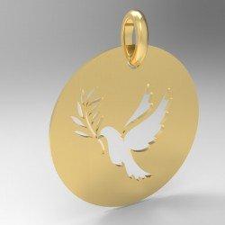 Médaille ronde découpe colombe rameau