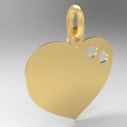 Médaille cœur repercé de 2 petits cœurs