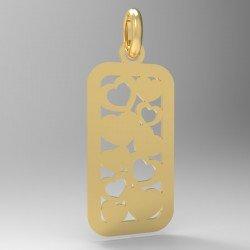 Médaille Rectangle repercée cœurs