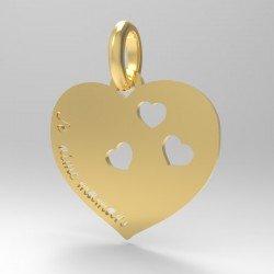 Médaille Je t'aime Maman Coeur