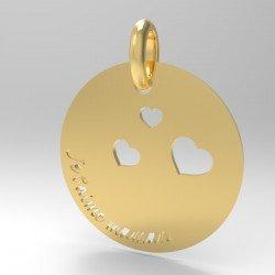 Médaille je t'aime Maman Ronde
