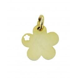 Médaille petite fleur repercée avec un coeur simple